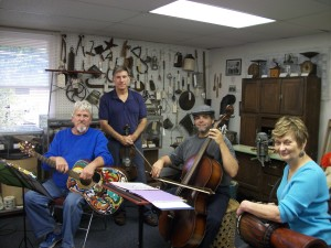 The Texas Porch Lizards play at the WSH Museum. L to R Gary Augustine, Rafael Cordova, Barbara Arabian and standing Mike Sonntag