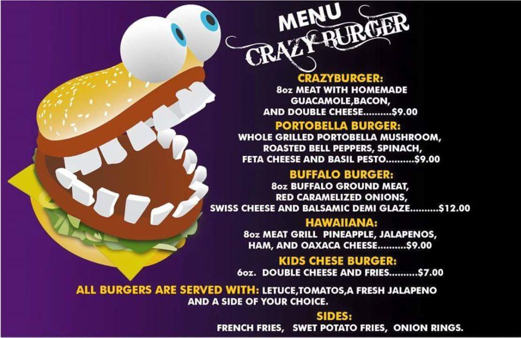 Crazy Burger Menu