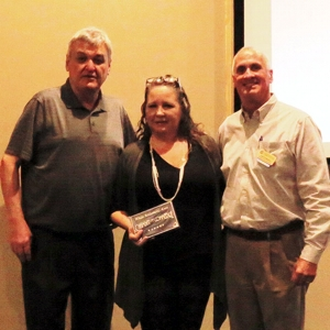 New Member Texas Movie Bistro representative Cyndi Gibbs was presented with their membership plaque by President Sam Symonds at January 2016 General Meeting.