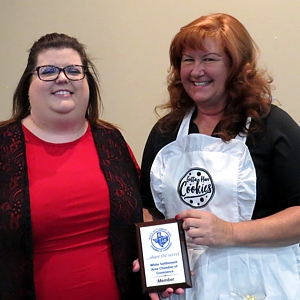 WSACC President JoAnna Kimbrell presented membership plaque to Gotta Have Cookies owner Debbie Zess at April 2018 General Meeting
