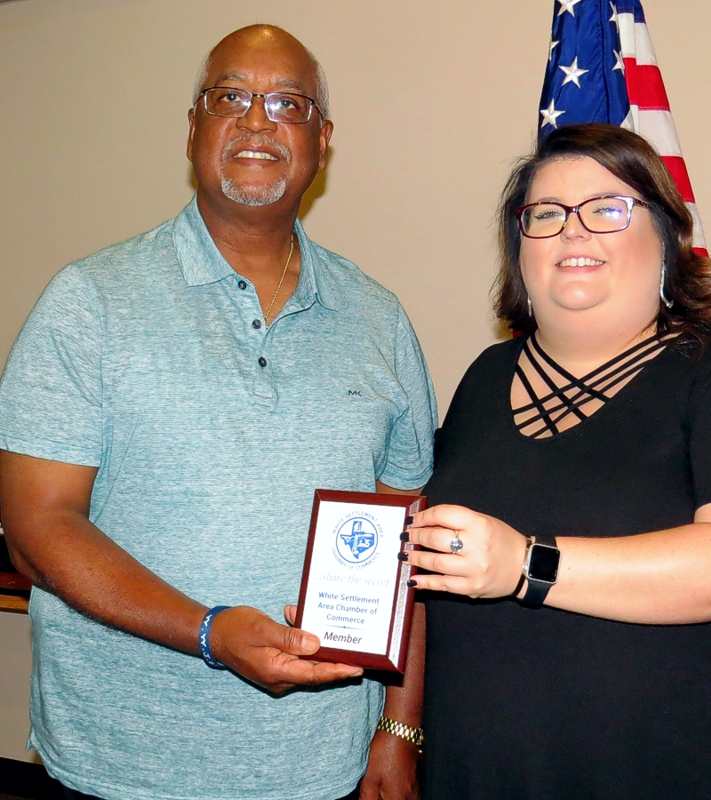 President JoAnna Kimbrell presented a membership plaque to Dwight Cooley, owner of Belzoni's Catfish Cafe at our June 2019 General Meeting